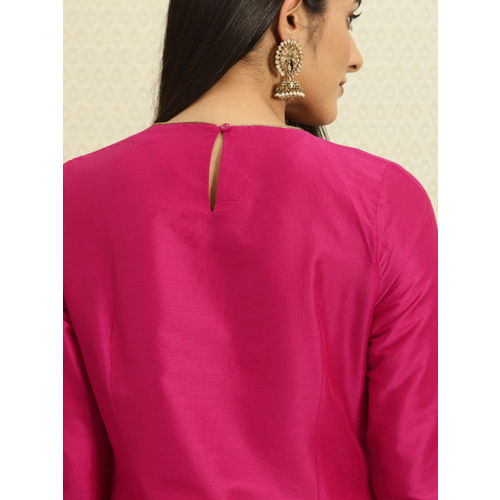 House of Pataudi Women Pink Embroidered A-Line Kurta