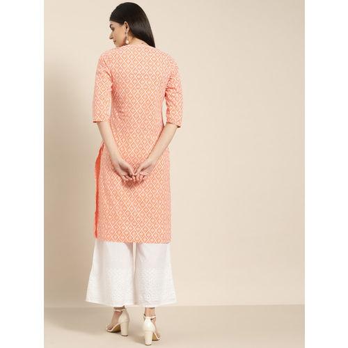 Sangria Women Peach-Coloured & White Printed Straight Kurta