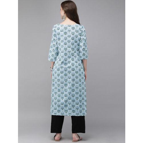 Anouk Women Blue & White Printed Straight Kurta