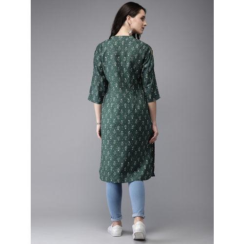 Anouk Women Olive Green Printed A-Line Kurta