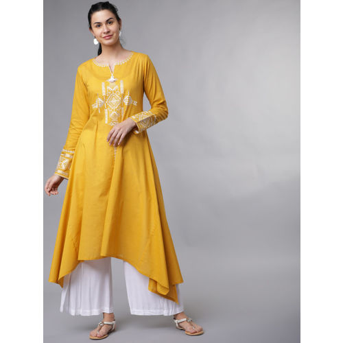 Vishudh Women Mustard Yellow & White Embroidered Asymmetric A-Line Kurta