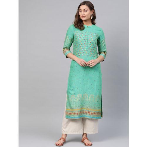 Sangria Women Green & Gold-Toned Printed Straight Kurta