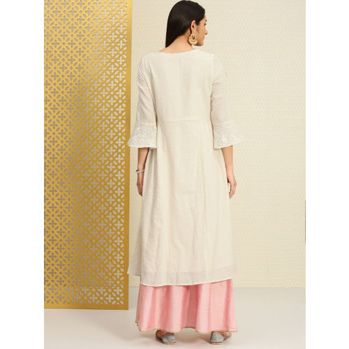 House of Pataudi Women Off-White Embroidered A-Line Kurta