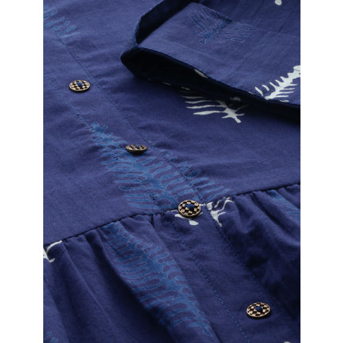 Anouk Women Navy Blue Printed A-Line Fusion Kurta