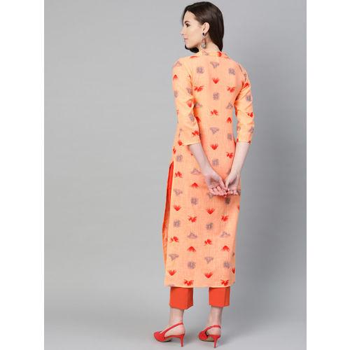 Nayo Women Peach-Coloured & Orange Printed Straight Kurta