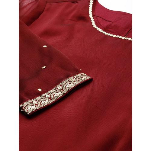 House of Pataudi Women Maroon Embroidered Straight Kurta