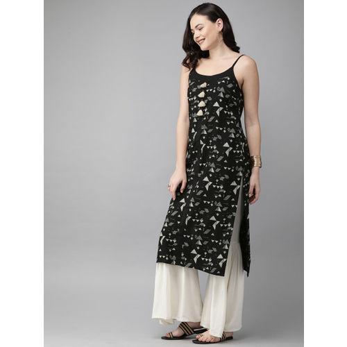 Anouk Women Black & White Printed Straight Kurta
