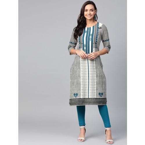 W Women Off-White & Grey Printed Straight Kurta