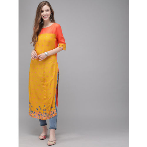Anouk Women Mustard Yellow & Orange Colourblocked Straight Kurta