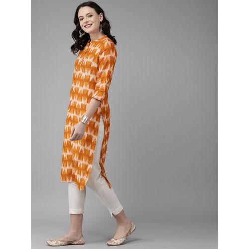 Anouk Women Rust Orange Printed Straight Kurta