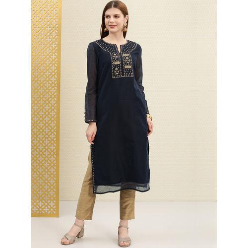 House of Pataudi Women Navy Blue & Golden Yoke Design Straight Kurta