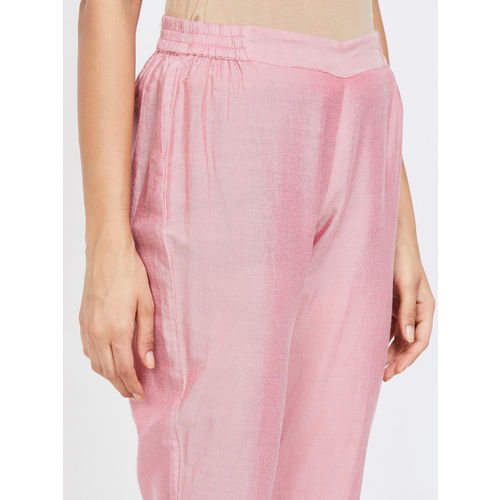 Melange by Lifestyle Women Pink Solid Cigarette Trousers