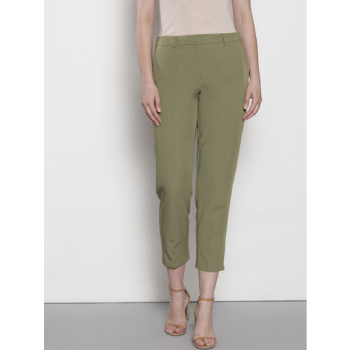 DOROTHY PERKINS Women Green Regular Fit Solid Cropped Trousers
