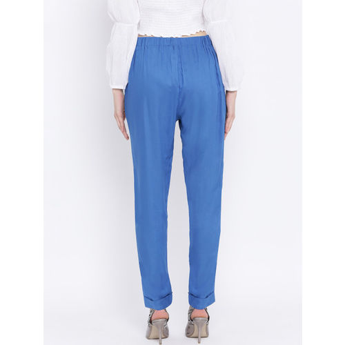 Oxolloxo Women Blue Regular Fit Solid Cigarette Trousers