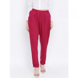 Oxolloxo Women Pink Regular Fit Solid Cigarette Trousers