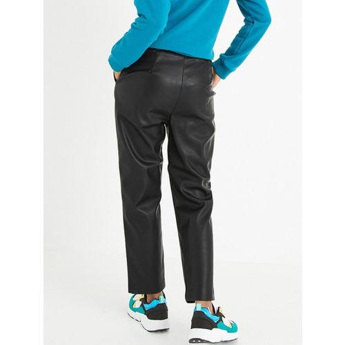 promod Women Black Loose Fit Solid Regular Trousers