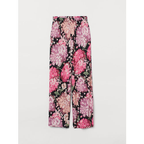 H&M Women Multicoloured Loose Fit Printed Regular Trousers