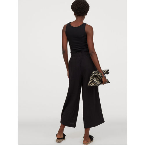 H&M Women Black Solid Wide Trousers