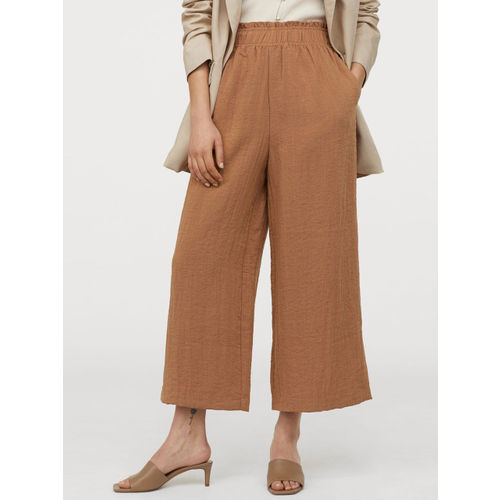 H&M Women Brown Solid Wide Trousers