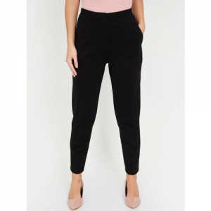 CODE by Lifestyle Women Black Solid Regular Trousers