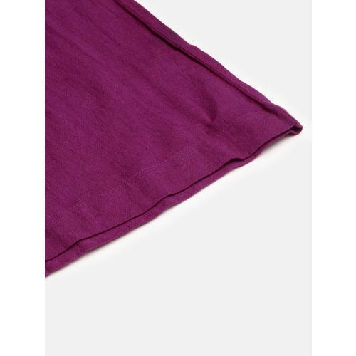 SASSAFRAS Women Purple Regular Fit Solid Parallel Trousers