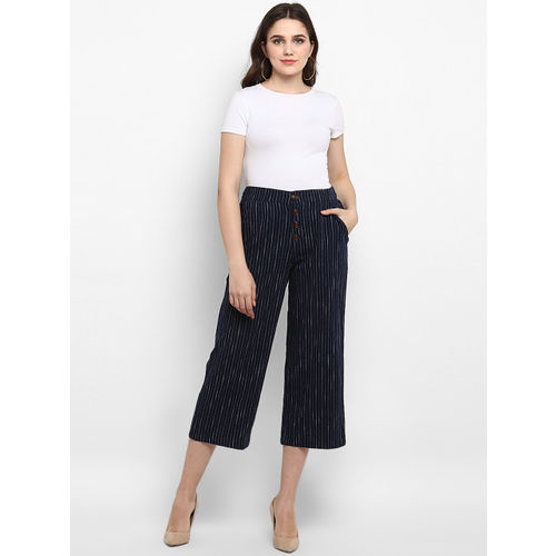Mode by Red Tape Women Navy Blue & White Regular Fit Striped Culottes