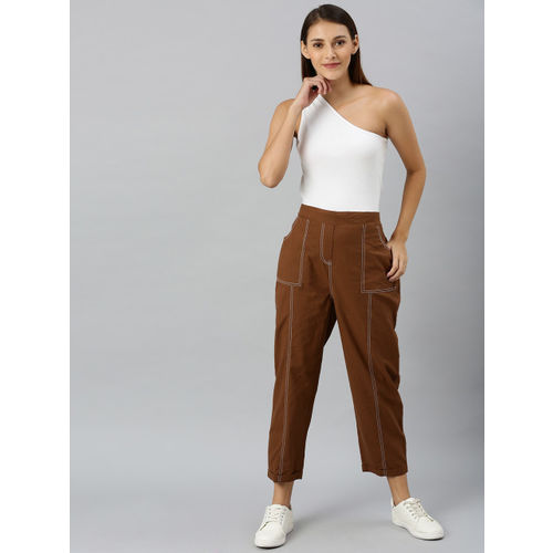 SASSAFRAS Women Brown Regular Fit Solid Regular Cropped Trousers