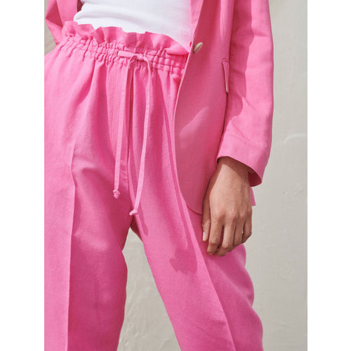 H&M Women Pink Solid Pull-On Linen-Blend Trousers