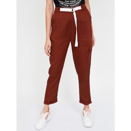 Bossini Women Tan Brown Regular Fit Solid Peg Trousers