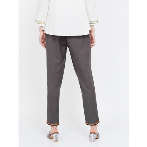 Melange by Lifestyle Women Grey Regular Fit Solid Regular Trousers