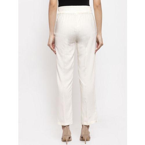 Aujjessa Women Cream-Coloured Smart Regular Fit Solid Cigarette Trousers