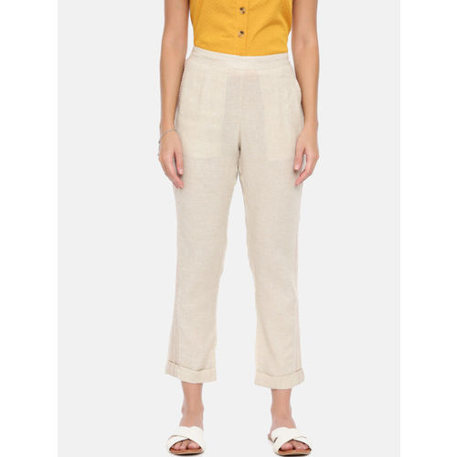 Chumbak Women Beige Tapered Fit Solid Regular Trousers