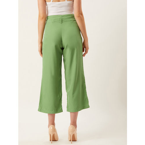 Alsace Lorraine Paris Women Green Straight Fit Solid Cropped Parallel Trousers