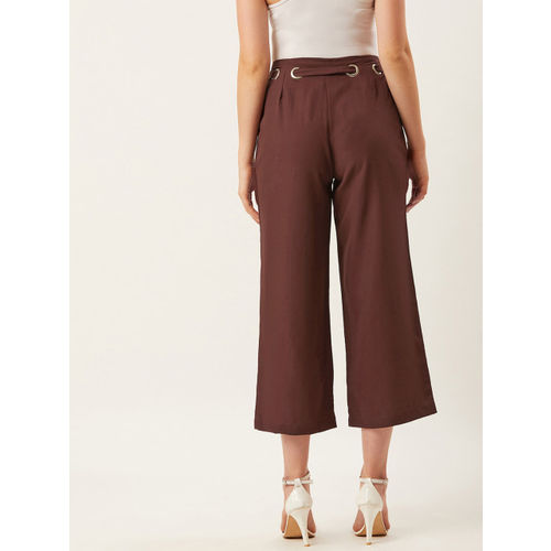 Alsace Lorraine Paris Women Brown Straight Fit Solid Cropped Parallel Trousers