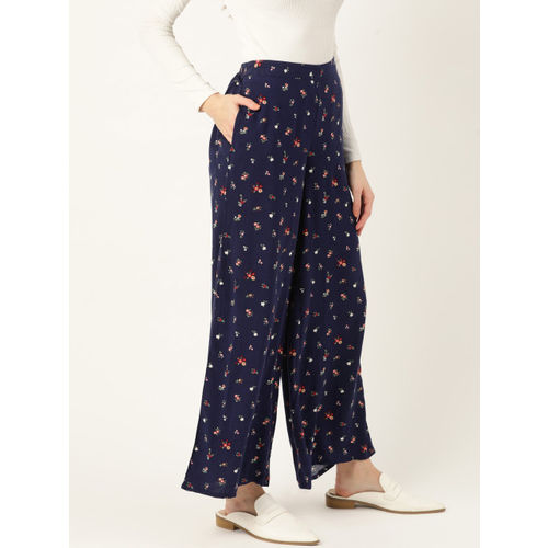 DressBerry Women Navy Blue & White Floral Print Parallel Trousers