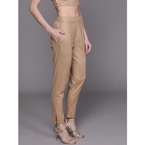 AKS Couture Women Beige Regular Fit Solid Trousers