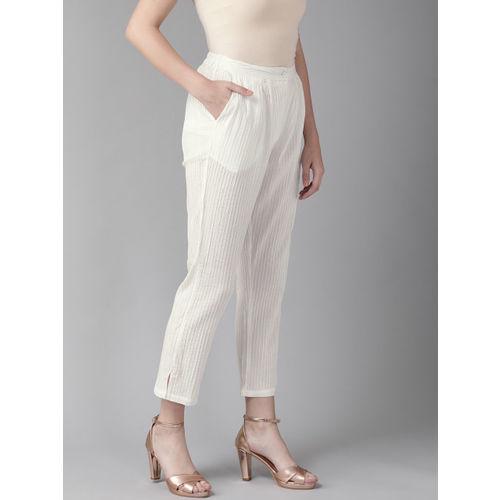 AKS Women White Self-Striped Cropped Trousers