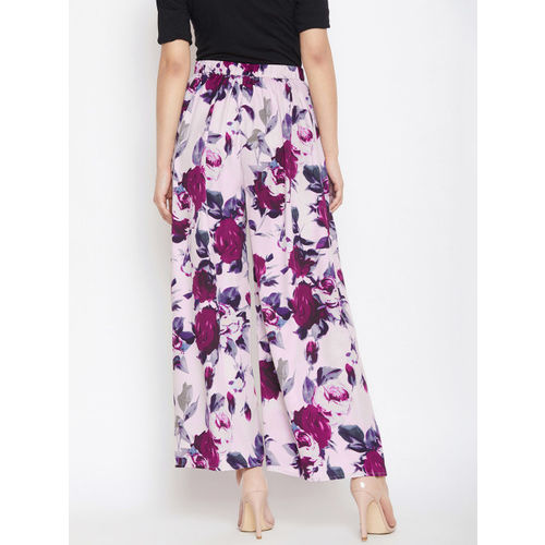 PURYS Women Pink & Purple Flared Printed Slit Parallel Trousers
