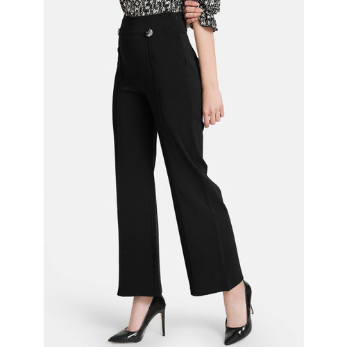 Kazo Women Black Flared Solid Regular Trousers
