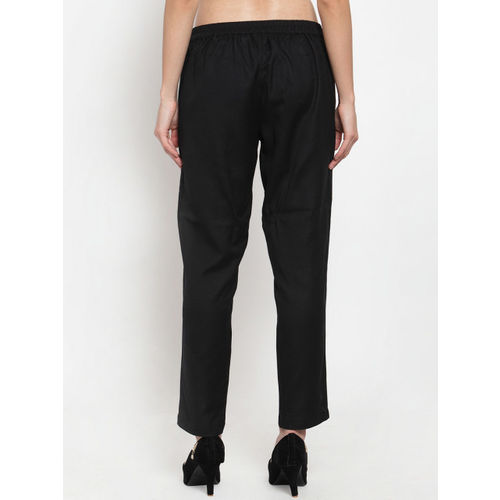 Ayaany Women Black Straight Fit Solid Cigarette Trousers