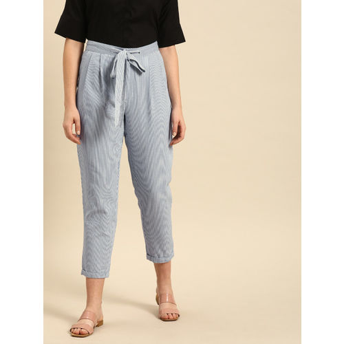 ether Women Blue & White Striped Ankle Length Trousers