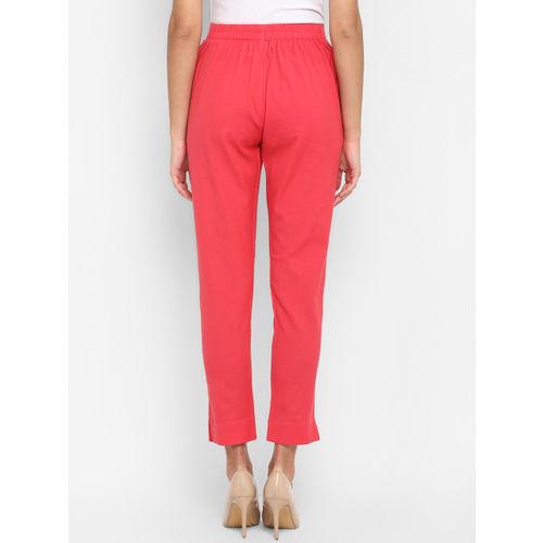 Janasya Women Pink Regular Fit Solid Cropped Trousers
