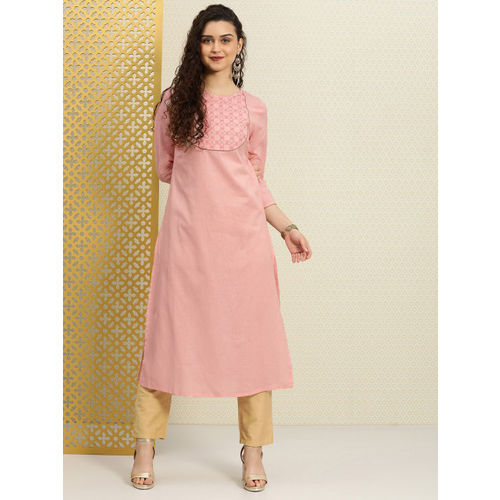 House of Pataudi Women Pink Yoke Design A-Line Kurta with Embroidered Detail