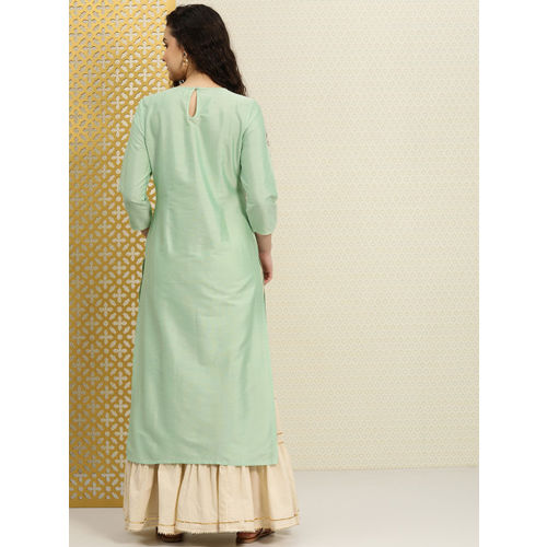 House of Pataudi Women Green Yoke Design A-Line Kurta