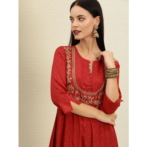 House of Pataudi Women Red & Gold-Toned Embroidered A-Line Kurta
