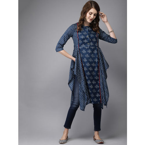 Anouk Women Navy Blue & White Printed Asymmetric Hemline Straight Kurta