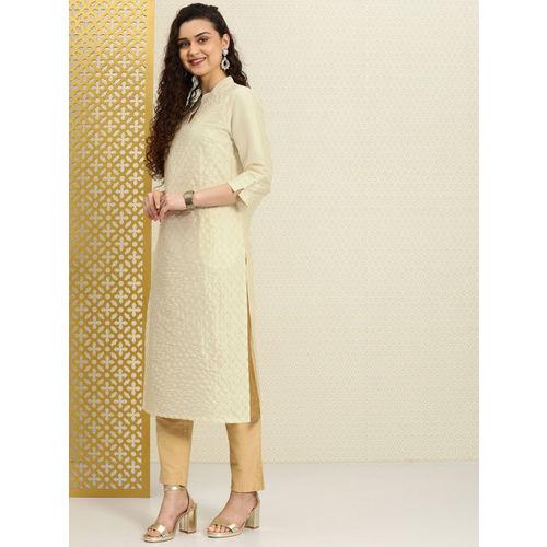 House of Pataudi Women Off-White & Golden Embroidered Straight Kurta