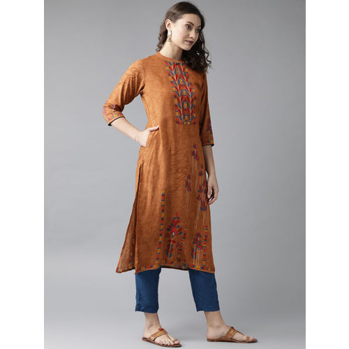 Shree Women Brown & Blue Printed Straight Kurta