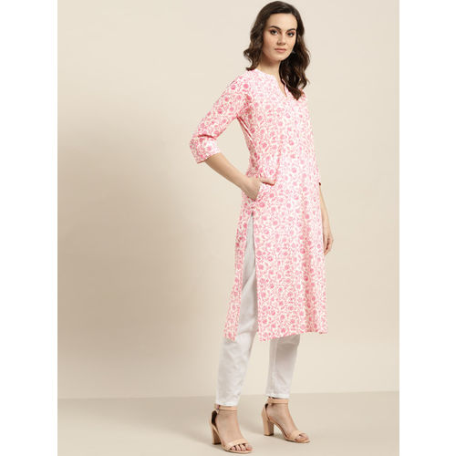 Sangria Women White & Pink Printed Straight Kurta