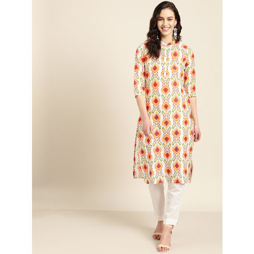 Sangria Women Off-White & Orange Printed Straight Kurta